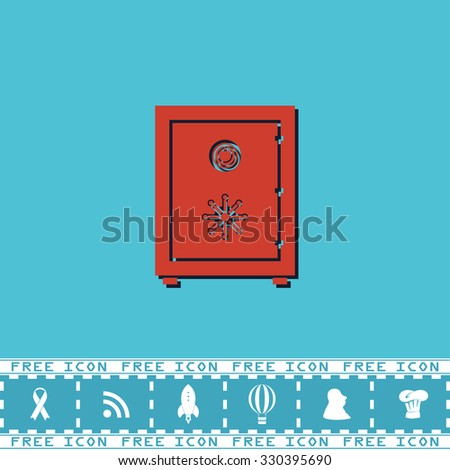 Safe. Red flat symbol with dark shadow and bonus icon. Simple illustration pictogram on blue background - stock photo