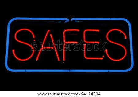 Safe Security Neon Black and Blue Sign