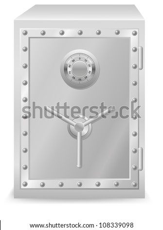 safe with combination lock illustration isolated on white background