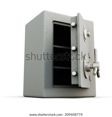 Safe with door open isolated on white background. 3d illustration. - stock photo