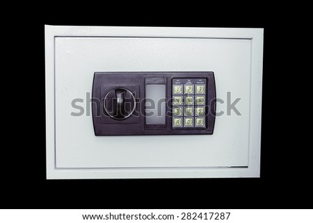safe with electronic keyboard on white background isolate