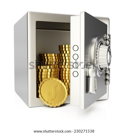 Safe with gold coins isolated on white background. 3d render