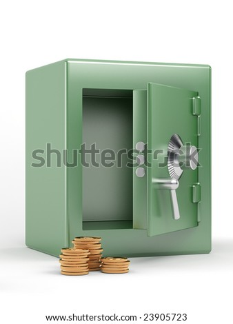 safe with golden coins on white background
