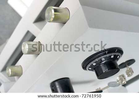 safe with manual secret and key - stock photo