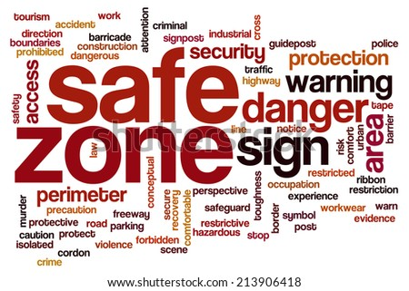 Safe zone concept word cloud background - stock photo