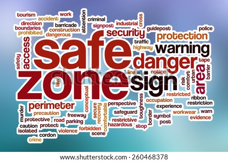 Safe zone word cloud concept with abstract background - stock photo