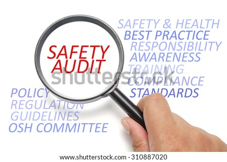 Safety and health at workplace conceptual, focus on the word Safety Audit - stock photo