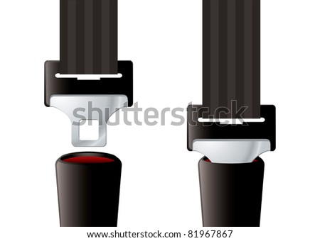 Safety auto seat belt inserted and open - stock photo