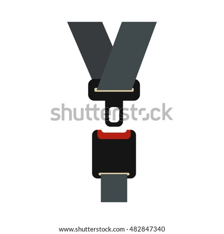 Safety belt icon in flat style on a white background