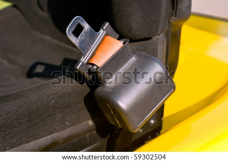 Safety belt of a forklift truck - stock photo