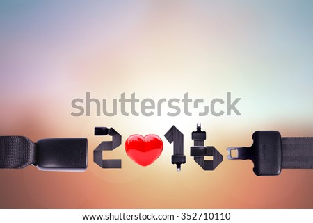 """safety belt parts in """"2016"""" wording on pastel background. Christmas day 2016 .Clipping path - stock photo"""