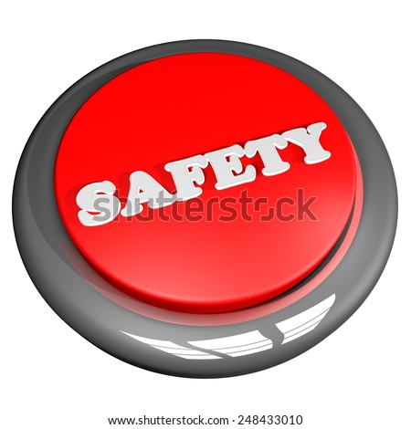 Safety button isolated over white, 3d render - stock photo