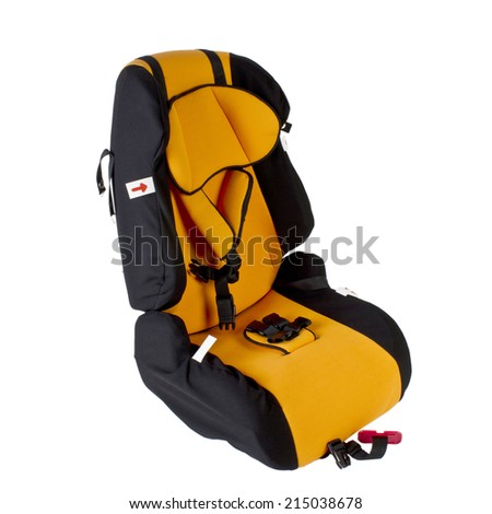 Safety car seat for children isolated on white background.  - stock photo