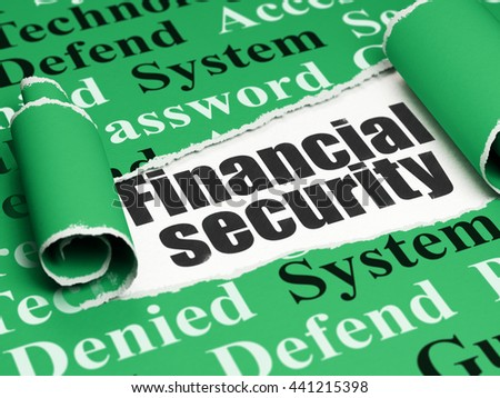 Safety concept: black text Financial Security under the curled piece of Green torn paper with  Tag Cloud, 3D rendering - stock photo