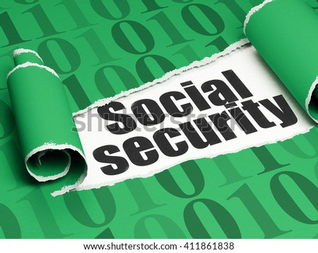 Safety concept: black text Social Security under the curled piece of Green torn paper with  Binary Code, 3D rendering