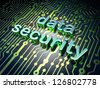 Safety concept: circuit board with word Data Security, 3d render - stock photo