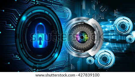 Safety concept: Closed Padlock on digital background, blue abstract light hi speed internet technology. Cyber security concept. Cyber background. Cyber data digital Technology.eye