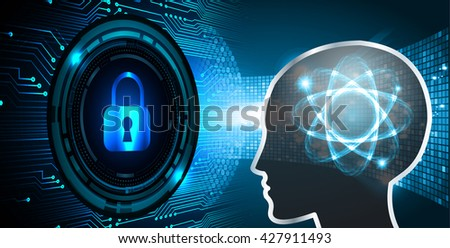 Safety concept: Closed Padlock on digital background, blue abstract light hi speed internet technology. Cyber security concept. Cyber data digital Technology. Brainstorm, Brain. Bulb Ideas. head