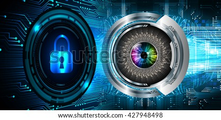 Safety concept: Closed Padlock on digital background, blue abstract light hi speed internet technology. Cyber security concept. Cyber background. Cyber data digital Technology. eye