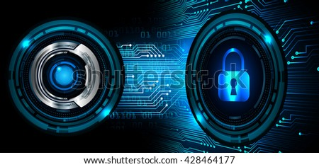 Safety concept: Closed Padlock on digital background, blue abstract light hi speed internet technology. Cyber security concept. Cyber background. Cyber data digital Technology.