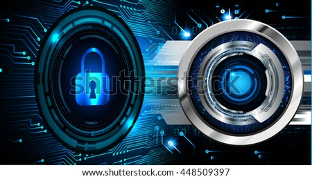 Safety concept, Closed Padlock on digital background, cyber security, Blue abstract hi speed internet technology background illustration
