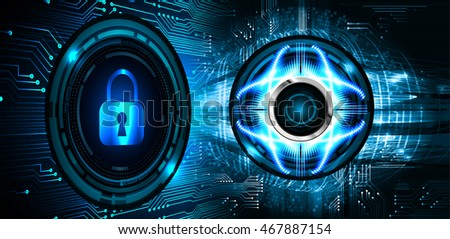 Safety concept, Closed Padlock on digital background, cyber security. key