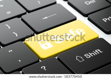 Safety concept: computer keyboard with Closed Padlock icon and word Safe, selected focus on enter button, 3d render - stock photo