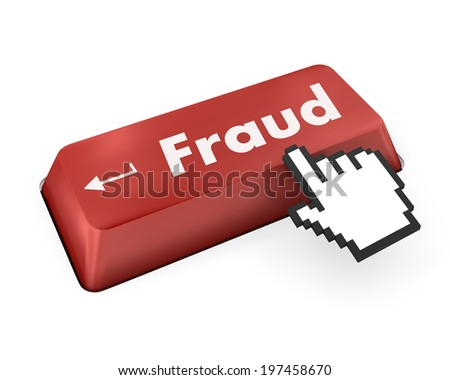 Safety concept: computer keyboard with Shield With Keyhole icon and word Fraud on enter button background, 3d render - stock photo