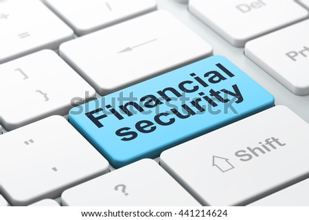 Safety concept: computer keyboard with word Financial Security, selected focus on enter button background, 3D rendering - stock photo