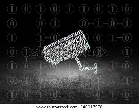 Safety concept: Glowing Cctv Camera icon in grunge dark room with Dirty Floor, black background with Scheme Of Binary Code - stock photo