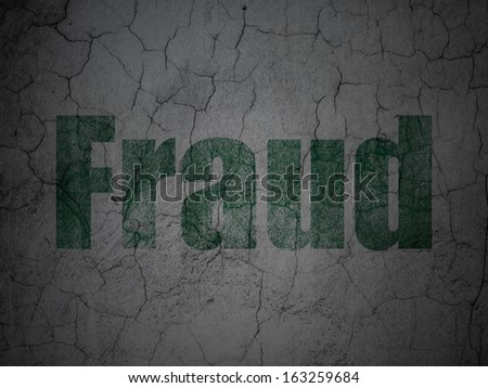 Safety concept: Green Fraud on grunge textured concrete wall background, 3d render - stock photo