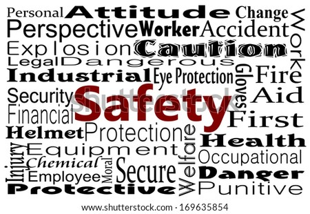 Safety concept in word collage. Occupational and Workplace safety