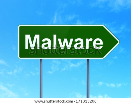 Safety concept: Malware on green road (highway) sign, clear blue sky background, 3d render