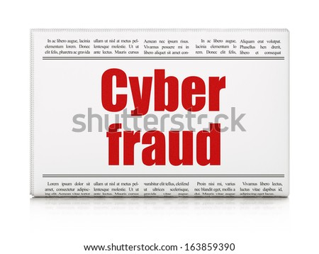 Safety concept: newspaper headline Cyber Fraud on White background, 3d render - stock photo