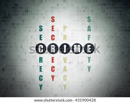 Safety concept: Painted black word Crime in solving Crossword Puzzle on Digital Data Paper background - stock photo