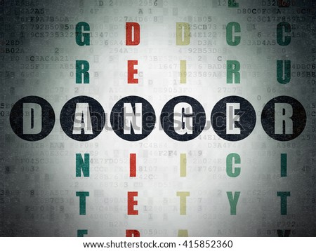 Safety concept: Painted black word Danger in solving Crossword Puzzle on Digital Data Paper background - stock photo