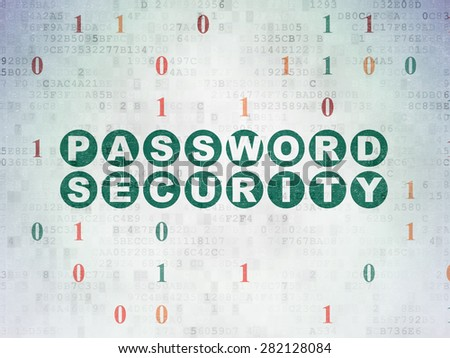 Safety concept: Painted green text Password Security on Digital Paper background with Binary Code, 3d render - stock photo