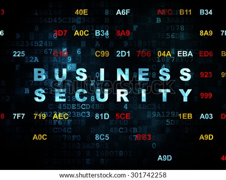 Safety concept: Pixelated blue text Business Security on Digital wall background with Hexadecimal Code, 3d render