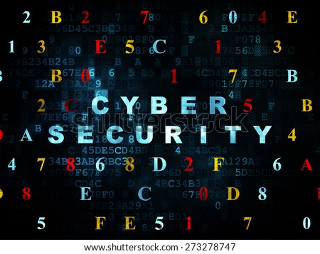 Safety concept: Pixelated blue text Cyber Security on Digital wall background with Hexadecimal Code, 3d render