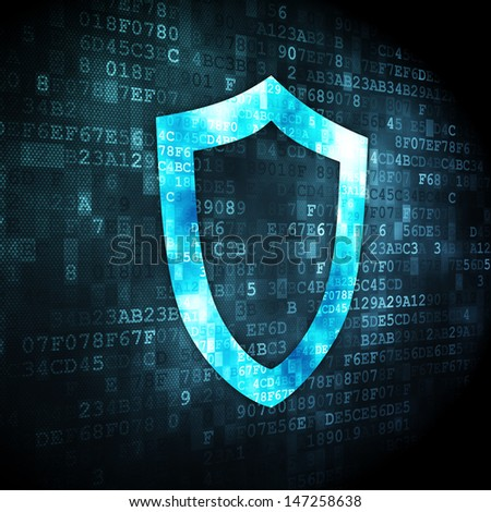 Safety concept: pixelated Contoured Shield icon on digital background, 3d render - stock photo