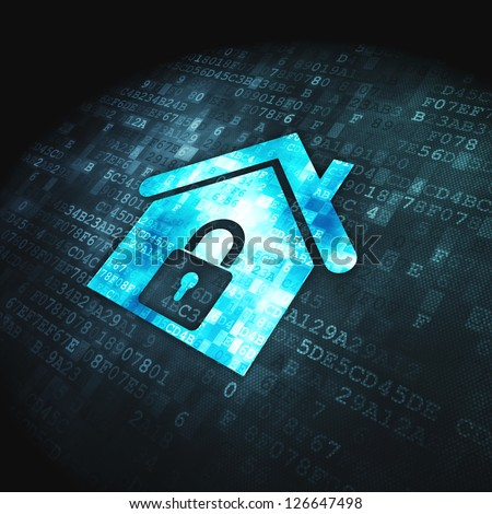 Safety concept: pixelated Home icon on digital background, 3d render - stock photo