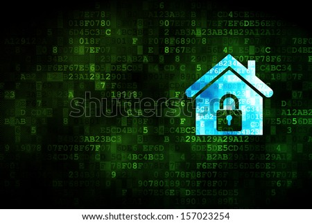 Safety concept: pixelated Home icon on digital background, empty copyspace for card, text, advertising, 3d render