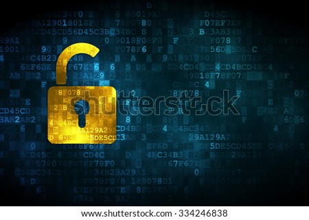 Safety concept: pixelated Opened Padlock icon on digital background, empty copyspace for card, text, advertising - stock photo