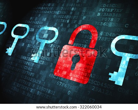 Safety concept: pixelated Padlock And Key icon on digital background - stock photo