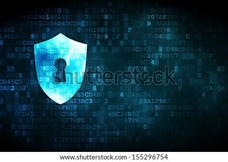 Safety concept: pixelated Shield With Keyhole icon on digital background, empty copyspace for card, text, advertising, 3d render