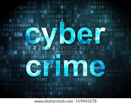 Safety concept: pixelated words Cyber Crime on digital background, 3d render