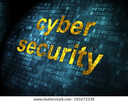 Safety concept: pixelated words Cyber Security on digital background, 3d render - stock photo
