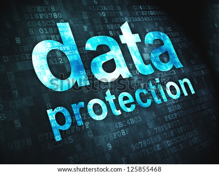 Safety concept: pixelated words Data Protection on digital background, 3d render - stock photo