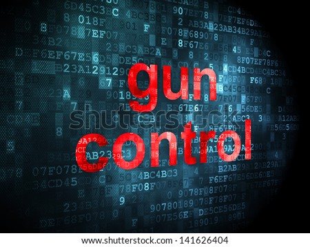 Safety concept: pixelated words Gun Control on digital background, 3d render