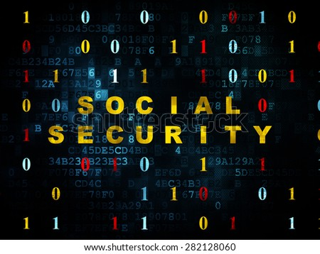 Safety concept: Pixelated yellow text Social Security on Digital wall background with Binary Code, 3d render - stock photo